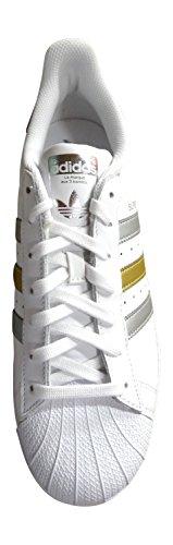 adidas Superstar Foundation Herren Sneakers Weiß Silber Gold BB4882