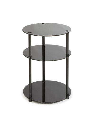 Convenience Concepts Designs2Go Midnight Classic 3-Tier Round Glass Side Table, Black - Three Tier Classic