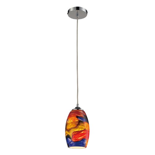 Elk 31339/1 Surrealist 1-Light Pendant with Hand Blown Glass Shade Pendant with 100-Watt Bulb, 5 by 9-Inch, Polished Chrome Finish Hand Blown Glass Pendant