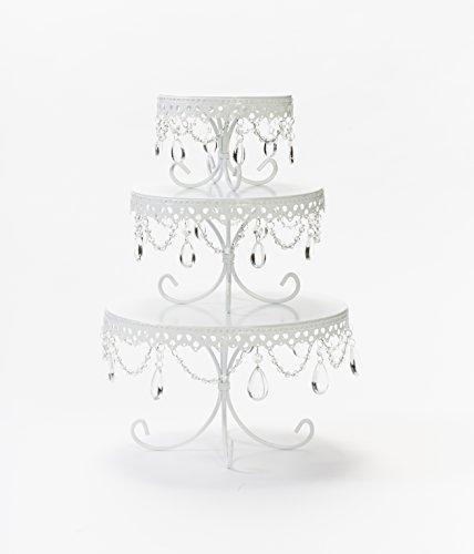 Opulent Treasures White Cake Stands, Chandelier Cake Dessert Plates, Set of 3, Wedding, Anniversary, Bridal Shower, Baby Shower Dessert (Collection 5 Piece Pedestal Table)