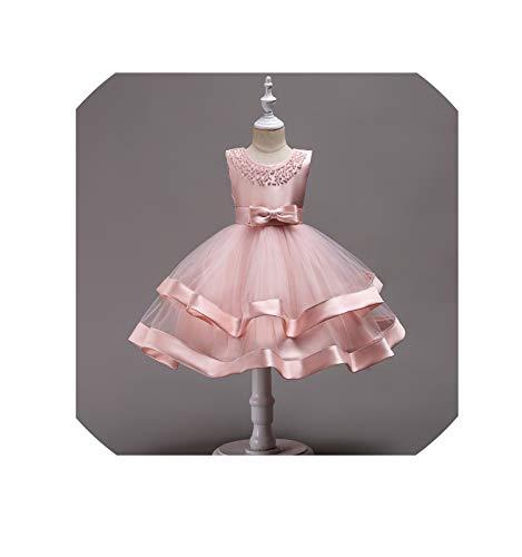 Baby Girls Dress Summer Princess Elegant Toddler Dress Kids Wedding Ball Gown Costume Infant Party Dresses Children Clothes,Fd364-Pink,4T