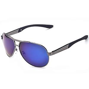 Joopin Fashion Men's Polarized Sunglasses Driving Aviator Man Sun Glasses(Grey Frame Blue Lens)