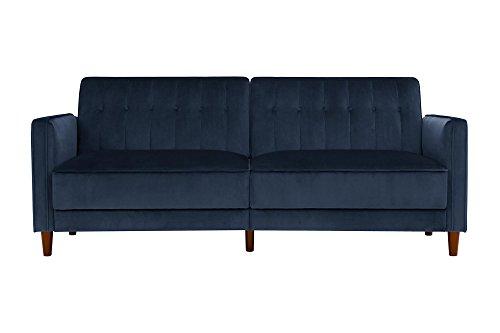 DHP Ivana Tufted Futon, Blue Velvet (Bed Blue Sofa)