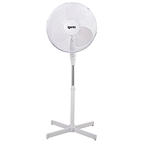 Igenix DF1655 Pedestal Fan, 16 Inch, 3 Speed, Quiet Operation, Oscillating, Adjustable Height, Cooling Fan, Ideal for Home and Office, White