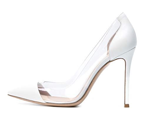 Sammitop Women's 100mm Pointed Toe Transparent High Heels Pumps Party Wedding Dress Shoes