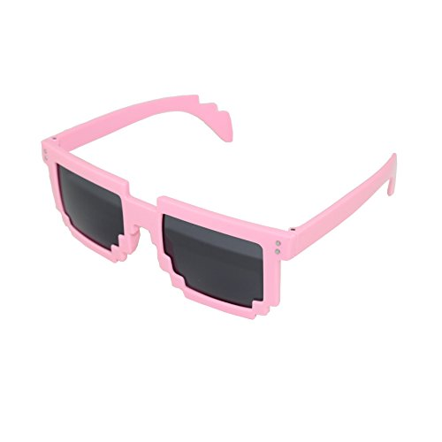 Pixel Kids Sunglasses Pink - Novelty Retro Gamer Geek Glasses for Boys and Girls Ages 6+ by - For Girls Sunglasses Branded