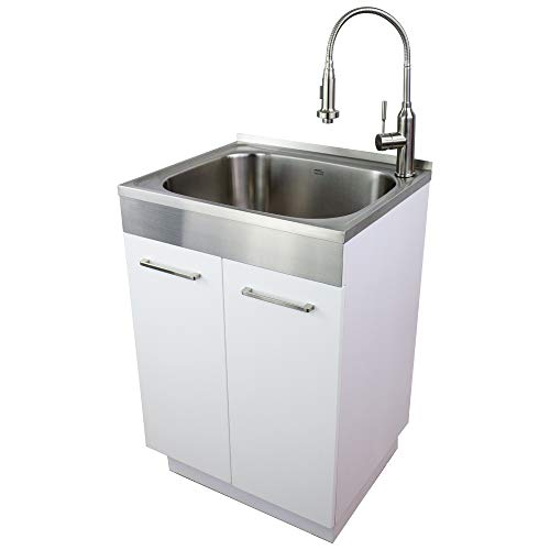 Transolid TCA-2420-WS 24-in x 20-in x 34.6-in Laundry Sink Cabinet with Faucet, White