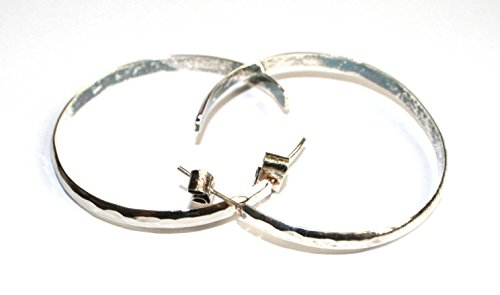 """#79 Timeless Artisan Made Alpaca Silver Hammered Hoops Earrings 2"""" Circles Peru from Unknown"""