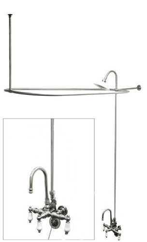 Chrome Plated Brass Add a Shower with Drain and Supplies and (Ball Clawfoot Leg Tub)