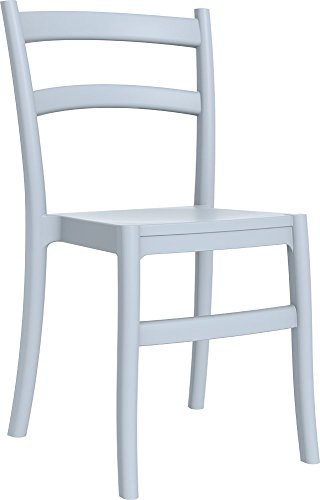 Clear Chair Store 018 Tiffany Indoor and Outdoor Stacking Dining Chair, Silver Grey by Clear Chair Store