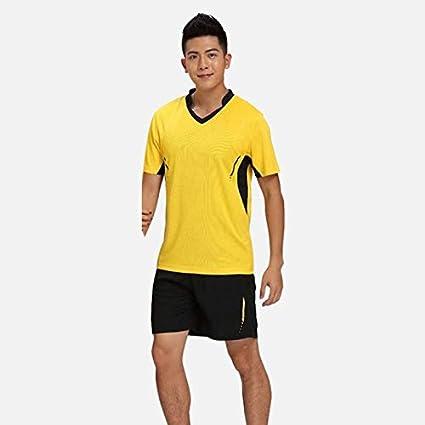 Set de camiseta de tenis para hombre, de bádminton, para tenis, tenis, de mesa, ropa transpirable, camiseta deportiva + falda para tenis, color amarillo