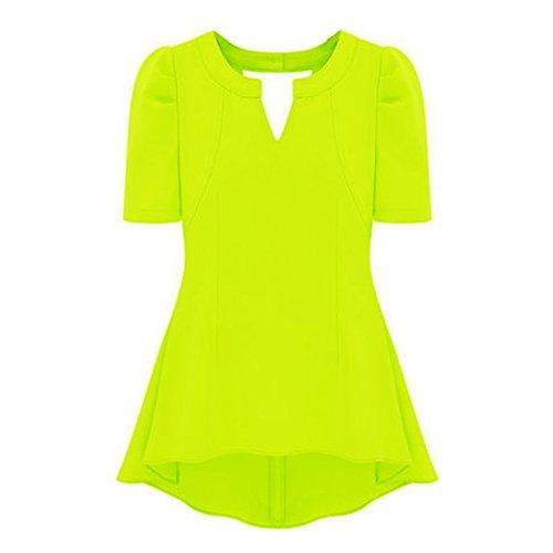 Chiffon Frill Sleeve Top (Vobaga Women's Peplum Tops Chiffon Frill Puff Sleeve Fitted Shirt Clubwear Chartreuse XxL)