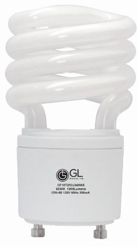 Goodlite G-10865 30 18-watt Replacement Mini Compact Fluorescent 1200-Lumen 6500K T2 Spiral Light Bulb with GU24 Base Twist and Lock, Daylight, 30-Pack by Goodlite