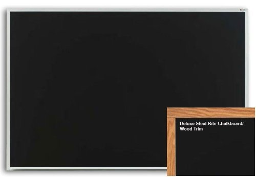 Marsh Pro-Rite 48X60 Black Porcelain Chalkboard, Red Oak Wood Trim by Marsh