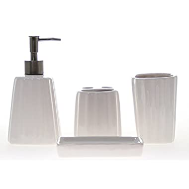 JustNile 4-Piece Ceramic Bathroom Accessory Set - White Vertical Stripes
