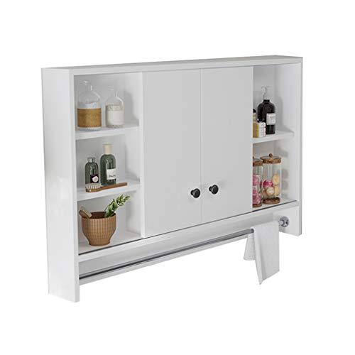 Peaceip US Wooden Bathroom Mirror Cabinet Wall Mounted Toilet Cabinet, Double Door -
