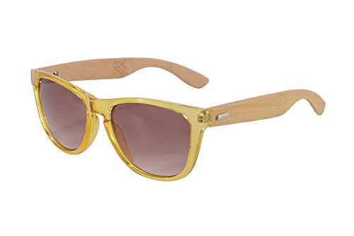 SHINU Retro Wayfarer Sunglasses Mirror Lens Bamboo Wood Arm Sunglasses-Z6100(yellow-bamboo,gradient - Sustainable Sunglasses