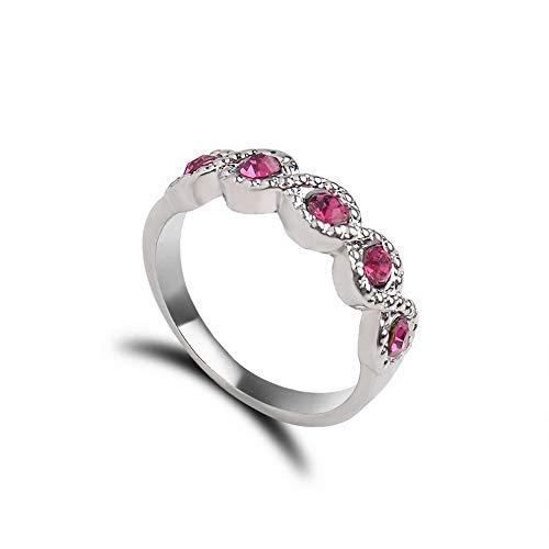 Monowi Fashion Ruby Gemstone White Gold Women Ring Wedding Engagement Jewelry Size 6-10 | Model RNG - 7295 | 10
