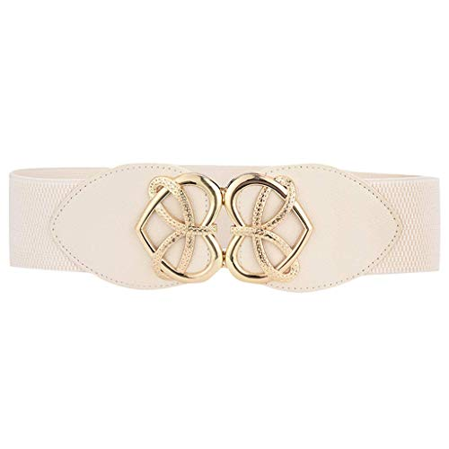 Electomania Women's Stretch Elasticated Waist Love Heart Gold Buckle Fashion Design Casual Belts for Jeans Dress (White)