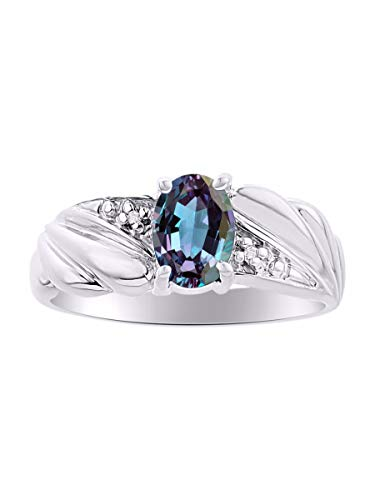 Classic Oval Alexandrite/Mystic Topaz & Diamond Ring Set in Sterling Silver .925 June Birthstone