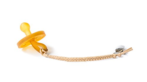 Madeline's Box Leather Braided Pacifier Clip, Hand-Made in USA (Sandstone)