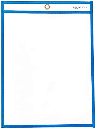 Basics Heavy Duty Dry Erase Ticket Holder Pockets 8.5 X 11 Pack of 25