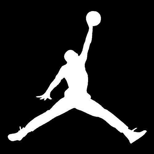 Air Jordan Basketball Vinyl Decal Car Truck Window Sticker Laptop Jumpman Logo, Die Cut Vinyl Decal for Windows, Cars, Trucks, Tool Boxes, laptops, MacBook - virtually Any Hard, Smooth Surface