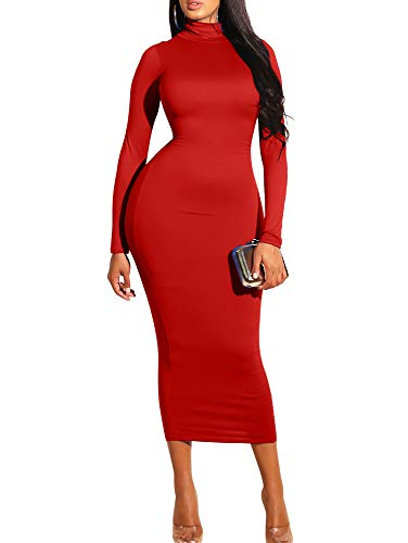GOBLES Women's Sexy Turtleneck Long Sleeve Elegant Bodycon Party Long Dress Red