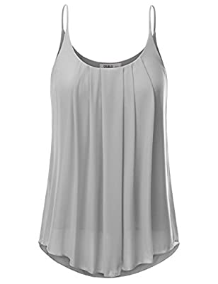 JJ Perfection Women's Pleated Chiffon Layered Cami Tank Top