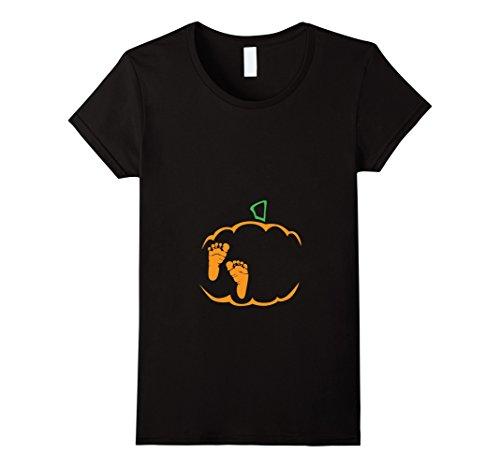 Womens Little Pumpkin Shirt, Cute Halloween Pregnancy Announcement Medium Black (Halloween Pregnancy Announcements)