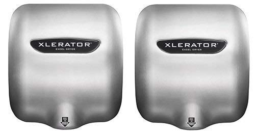 Excel Dryer XLERATOR XL-SB 1.1N High Speed Commercial Hand Dryer, Brushed Stainless Cover, Automatic Sensor, Surface Mounted, Noise Reduction Nozzle, LEED Credits 12.2 Amps 110/120V (2 Pack) ()