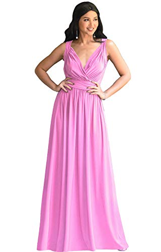 KOH KOH Plus Size Womens Long Sleeveless Flowy Bridesmaids Cocktail Party Evening Formal Sexy Summer Wedding Guest Ball Prom Gown Gowns Maxi Dress Dresses, Hot Fuchsia Pink 2XL 18-20