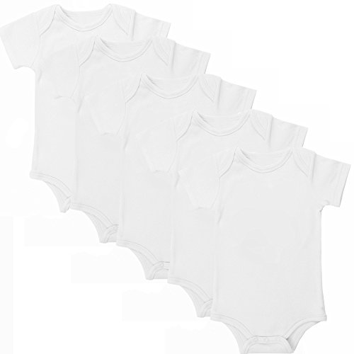 Judanzy Blank Short Sleeve 100  Cotton Baby Bodysuits  5 Pack   3 6 Months  White