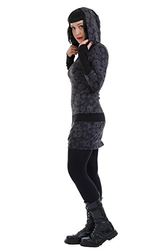 Hoodie Long by Sleeve cuffs with designed 3Elfen Dress Flower 55WaqwrF