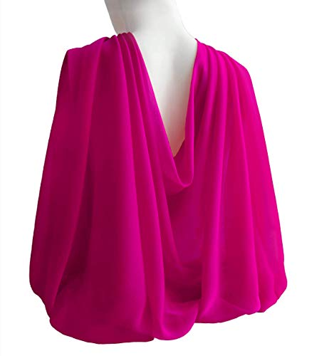 Fuchsia Wide Long Scarf for Women Evening Wrap Formal Shawl Lightweight Cocktail Chiffon Stoles Mother's day Gift 77