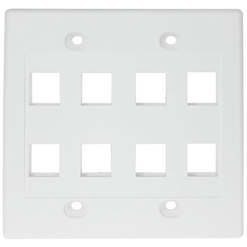 RiteAV - Keystone Wall Plate Double Gang 8-Port White (1 Piece Flush) (Double Gang Coax Wall Plate)