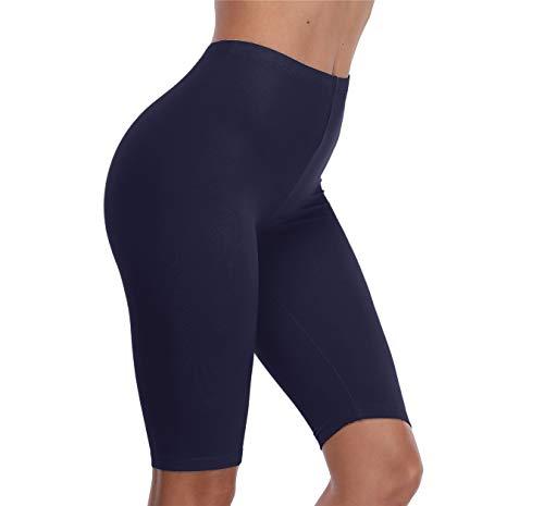 VOGUEMAX Women's Short Leggings Stretchy Mid Tight Leggings Lightweight for Under Dresses/Skirts, Regular and Plus Size Navy Blue ()