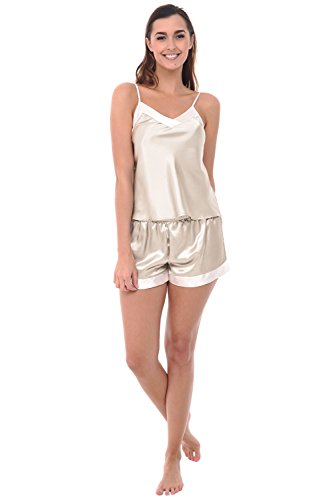 Del Rossa Women's Satin Pajamas, Cami top and Shorts with Trim, Medium Biscotti (A0783BISMD) (Womens Short Silk Nightgowns)