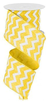 (Chevron Wired Edge Ribbon (2.5