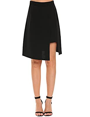 Zeagoo Women's Drape up Stretchy Asymmetrical High Low Short Mini A Line Skirt