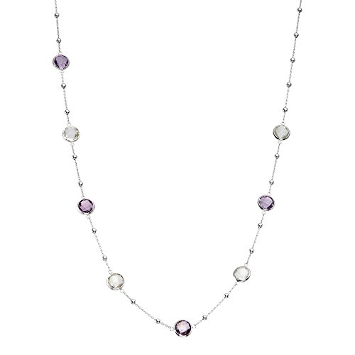 926 Sterling Silver Round Small Stations with Multi-Tonal Bezel Gemstones Chain Necklace, 16