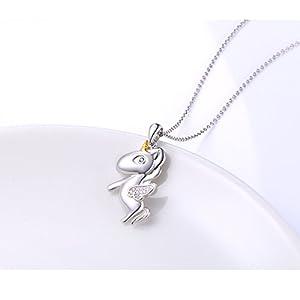 LINLIN FINE JEWELRY 925 Sterling Silver Cute Flying Unicorn Pendant Necklace for Women Girls, 18 inch