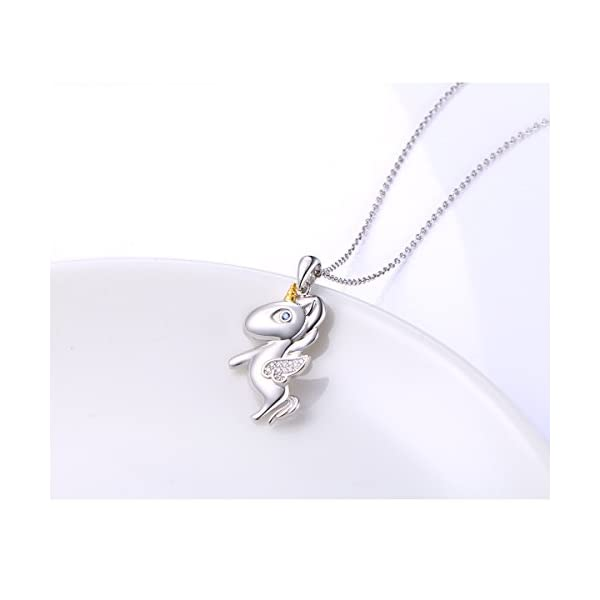 LINLIN FINE JEWELRY 925 Sterling Silver Cute Flying Unicorn Pendant Necklace for Women Girls, 18 inch 4