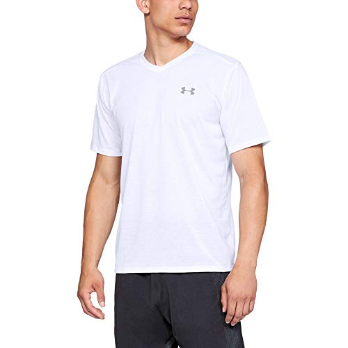 Under Armour Men's Threadborne Short sleeve vneck, White (100)/Overcast Gray, Large