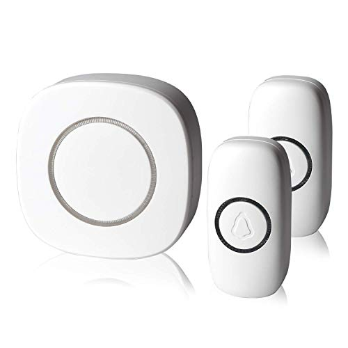 Classic Waterproof Wireless Doorbell - Wireless Long Range Electric Doorbell with LED Indicators, 32 Door Alert Chimes (White, 1 receiver + 2 transmitters), RingPoint ()