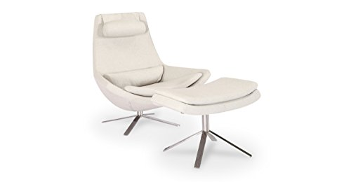 Kardiel Retropolitan Modern Lounge Chair & Ottoman, Heather Cashmere Wool For Sale