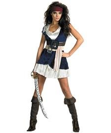 [Disguise Unisex Adult Sassy Jack Sparrow, Blue/White, Medium (8-10) Costume] (Jack White Halloween Costume)