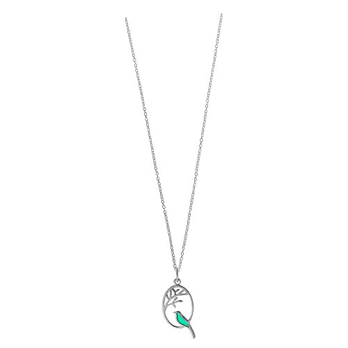 (Boma Jewelry Sterling Silver Kelly Green Resin Bird Necklace, 16 inches)