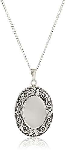 Oval Embossed floral Antique finish Locket Necklace 22