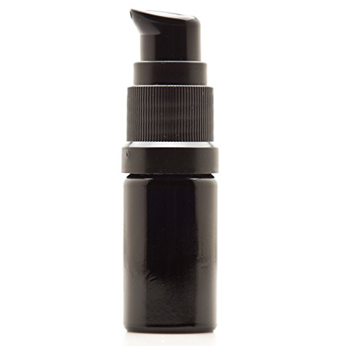 Infinity Jars 5 Ml (.17 fl oz) Black Ultraviolet Glass Push Pump Bottle